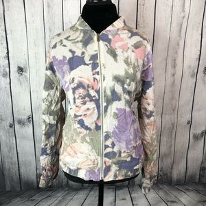 Juicy Couture Floral Zip Up Jacket Women Size XL